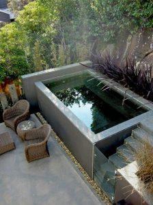 Mini piscine hors sol grise