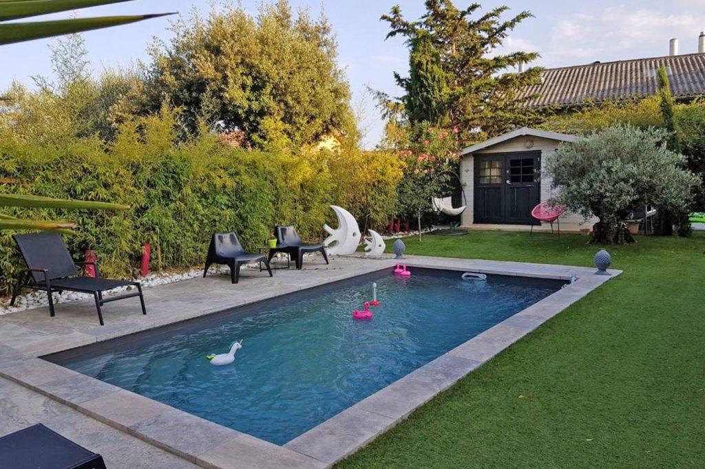 mini piscine Desjoyaux travertin gris